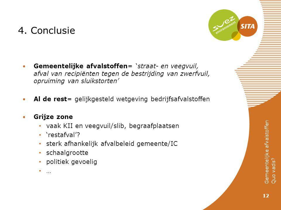 4. Conclusie Gemeentelijke afvalstoffen= 'straat- en veegvuil, afval van recipiënten tegen de bestrijding van zwerfvuil, opruiming van sluikstorten' A