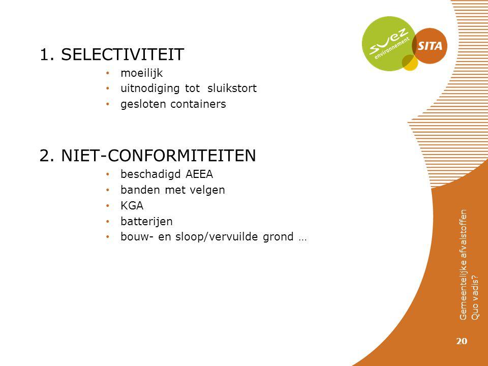 1. SELECTIVITEIT moeilijk uitnodiging tot sluikstort gesloten containers 2. NIET-CONFORMITEITEN beschadigd AEEA banden met velgen KGA batterijen bouw-