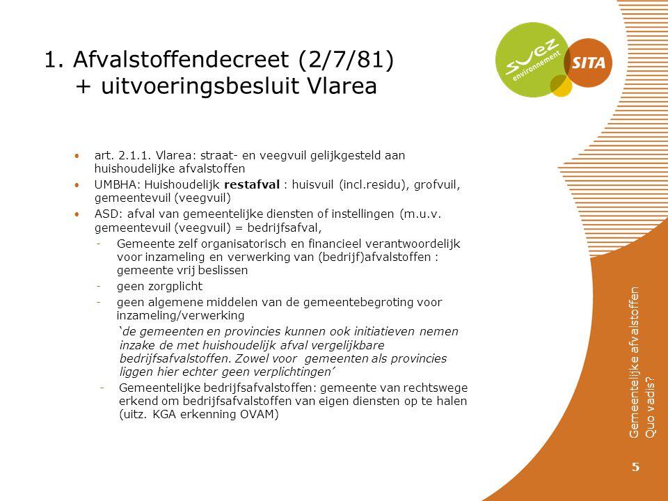 1. Afvalstoffendecreet (2/7/81) + uitvoeringsbesluit Vlarea art. 2.1.1. Vlarea: straat- en veegvuil gelijkgesteld aan huishoudelijke afvalstoffen UMBH