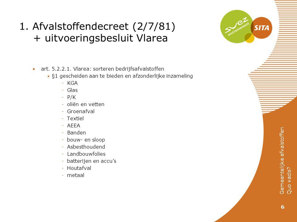 1. Afvalstoffendecreet (2/7/81) + uitvoeringsbesluit Vlarea art. 5.2.2.1. Vlarea: sorteren bedrijfsafvalstoffen §1 gescheiden aan te bieden en afzonde