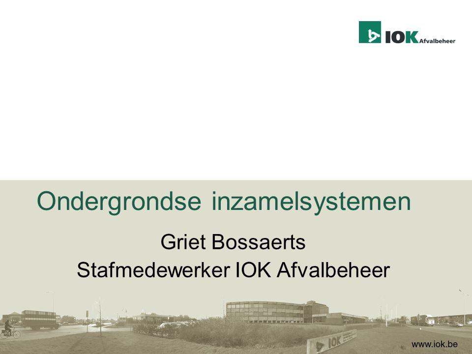 Agenda IOK Afvalbeheer waarom afval ondergronds knelpunten uit het verleden rol van de intercommunale opmaak verordening en stedenbouwkundige vergunning selectieve inzameling ondergronds realisatie IOK Afvalbeheer besluit VVSG Afval gaat ondergronds 11 maart 2014