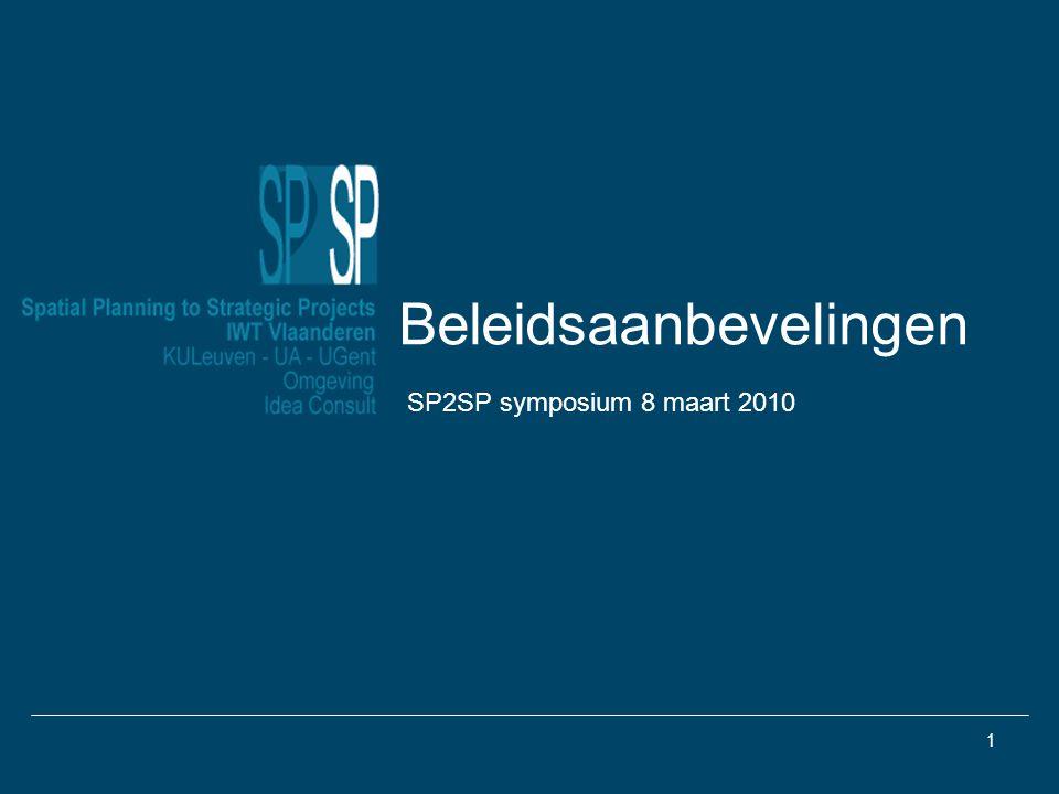 1 Beleidsaanbevelingen SP2SP symposium 8 maart 2010