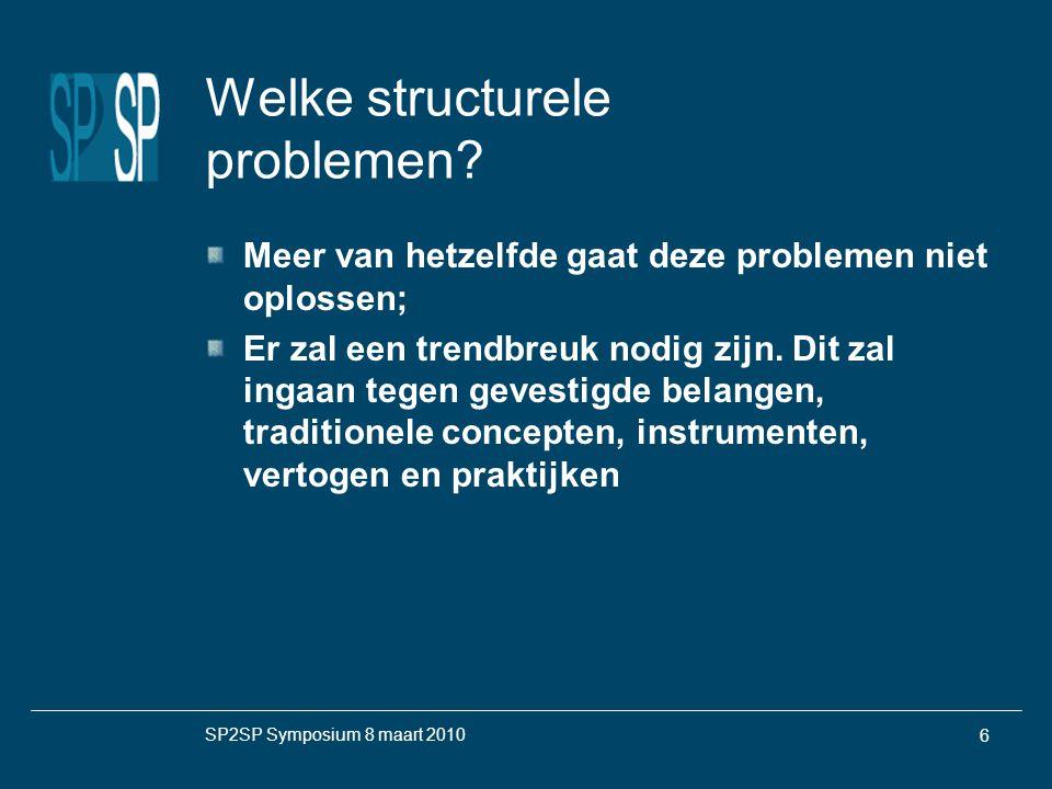 SP2SP Symposium 8 maart 2010 6 Welke structurele problemen.