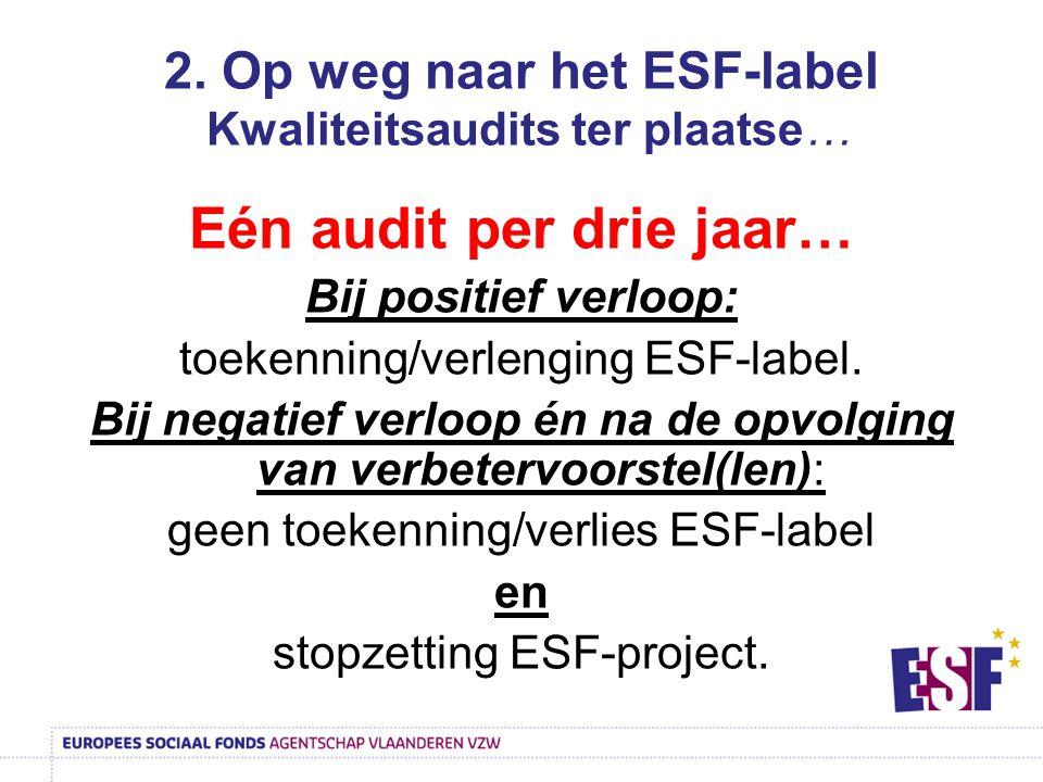 2. Op weg naar het ESF-label Kwaliteitsaudits ter plaatse… Eén audit per drie jaar… Bij positief verloop: toekenning/verlenging ESF-label. Bij negatie