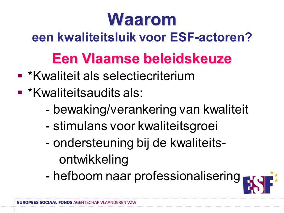 Waarom Waarom een kwaliteitsluik voor ESF-actoren? Een Vlaamse beleidskeuze  *Kwaliteit als selectiecriterium  *Kwaliteitsaudits als: - bewaking/ver
