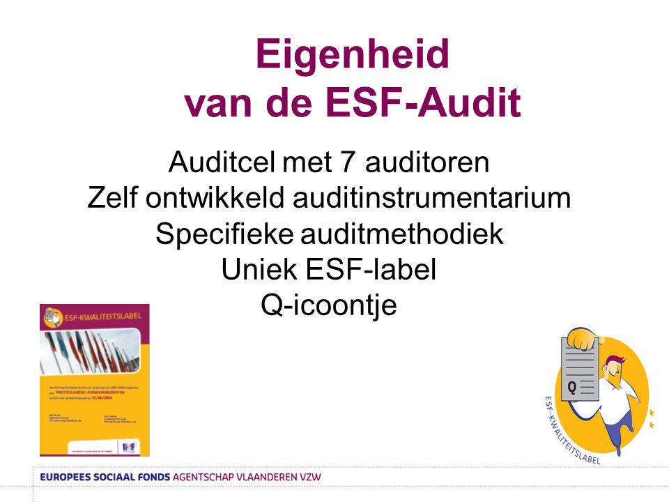 Eigenheid van de ESF-Audit Auditcel met 7 auditoren Zelf ontwikkeld auditinstrumentarium Specifieke auditmethodiek Uniek ESF-label Q-icoontje