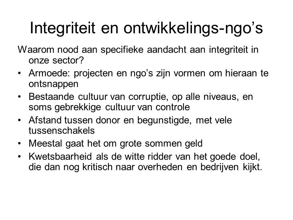 Integriteit en ontwikkelings-ngo's Waarom nood aan specifieke aandacht aan integriteit in onze sector.