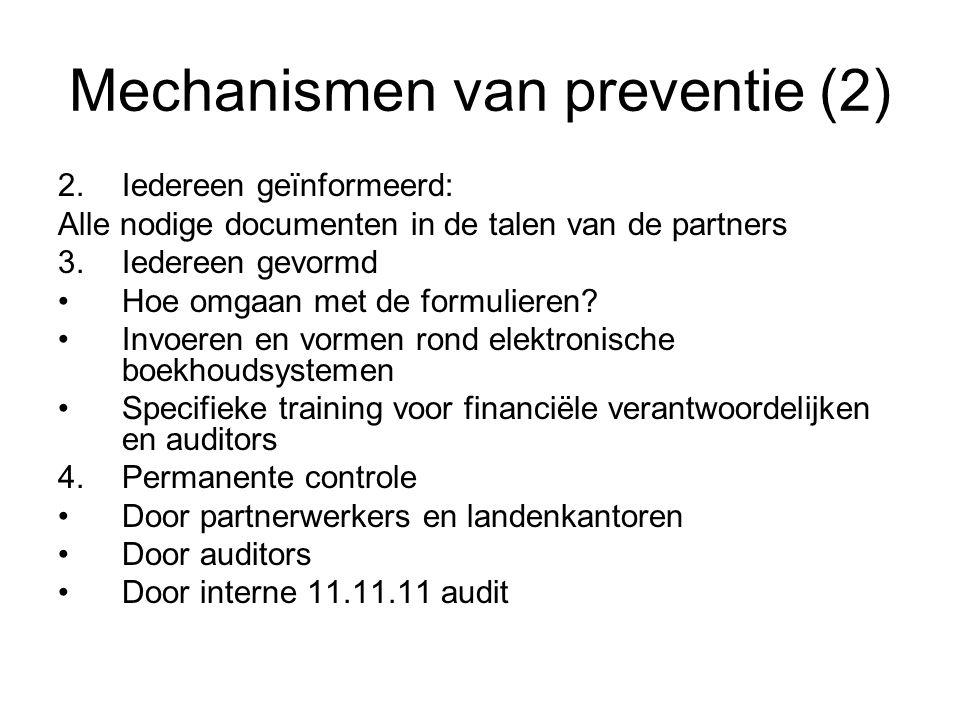 Mechanismen van preventie (2) 2.Iedereen geïnformeerd: Alle nodige documenten in de talen van de partners 3.Iedereen gevormd Hoe omgaan met de formuli