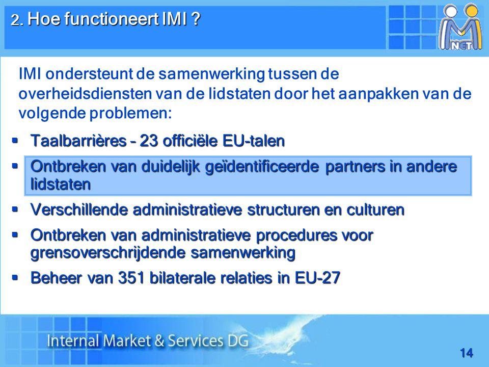 14  Taalbarrières – 23 officiële EU-talen  Ontbreken van duidelijk geïdentificeerde partners in andere lidstaten  Verschillende administratieve structuren en culturen  Ontbreken van administratieve procedures voor grensoverschrijdende samenwerking  Beheer van 351 bilaterale relaties in EU-27 2.