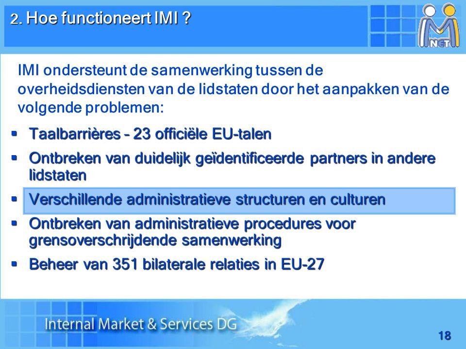 18  Taalbarrières – 23 officiële EU-talen  Ontbreken van duidelijk geïdentificeerde partners in andere lidstaten  Verschillende administratieve structuren en culturen  Ontbreken van administratieve procedures voor grensoverschrijdende samenwerking  Beheer van 351 bilaterale relaties in EU-27 2.