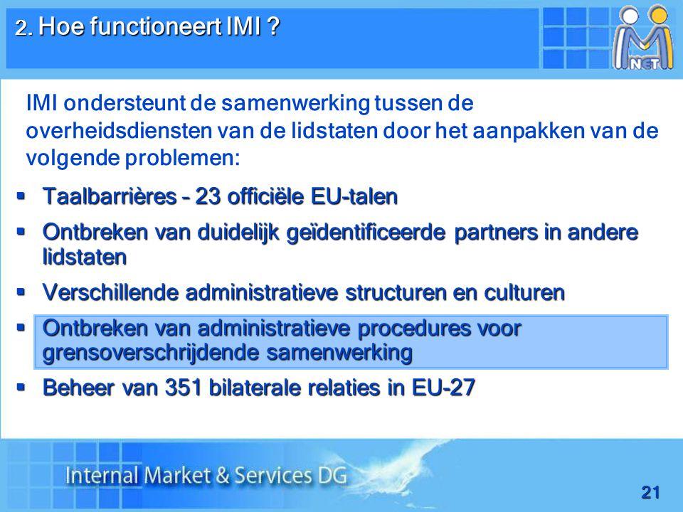 21  Taalbarrières – 23 officiële EU-talen  Ontbreken van duidelijk geïdentificeerde partners in andere lidstaten  Verschillende administratieve structuren en culturen  Ontbreken van administratieve procedures voor grensoverschrijdende samenwerking  Beheer van 351 bilaterale relaties in EU-27 2.