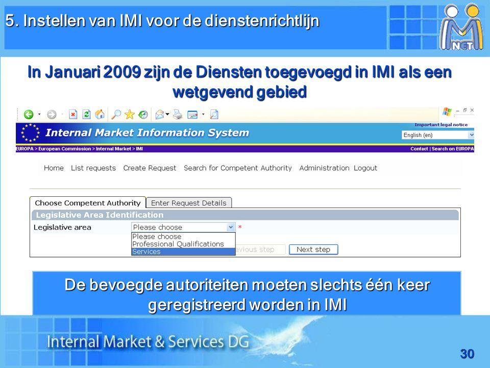 30 De bevoegde autoriteiten moeten slechts één keer geregistreerd worden in IMI In Januari 2009 zijn de Diensten toegevoegd in IMI als een wetgevend gebied 5.