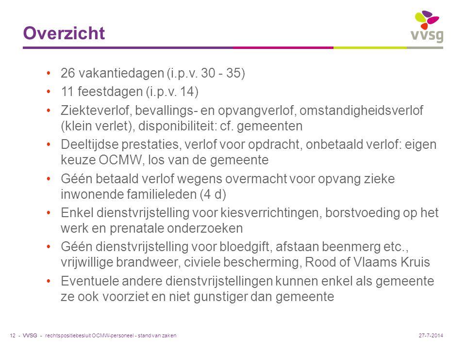VVSG - Overzicht 26 vakantiedagen (i.p.v. 30 - 35) 11 feestdagen (i.p.v.