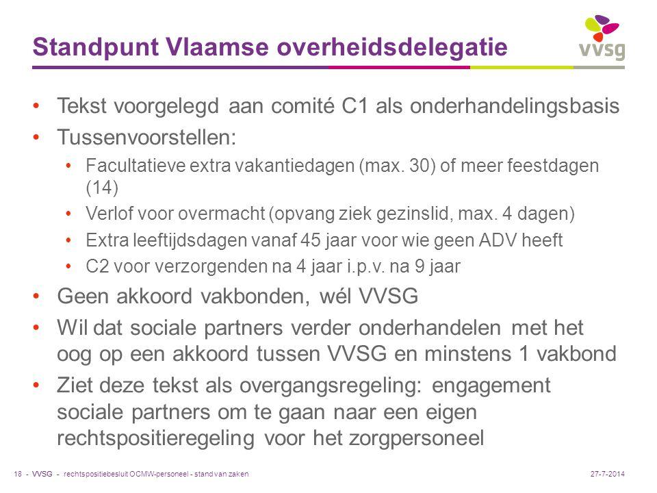VVSG - Standpunt Vlaamse overheidsdelegatie Tekst voorgelegd aan comité C1 als onderhandelingsbasis Tussenvoorstellen: Facultatieve extra vakantiedagen (max.