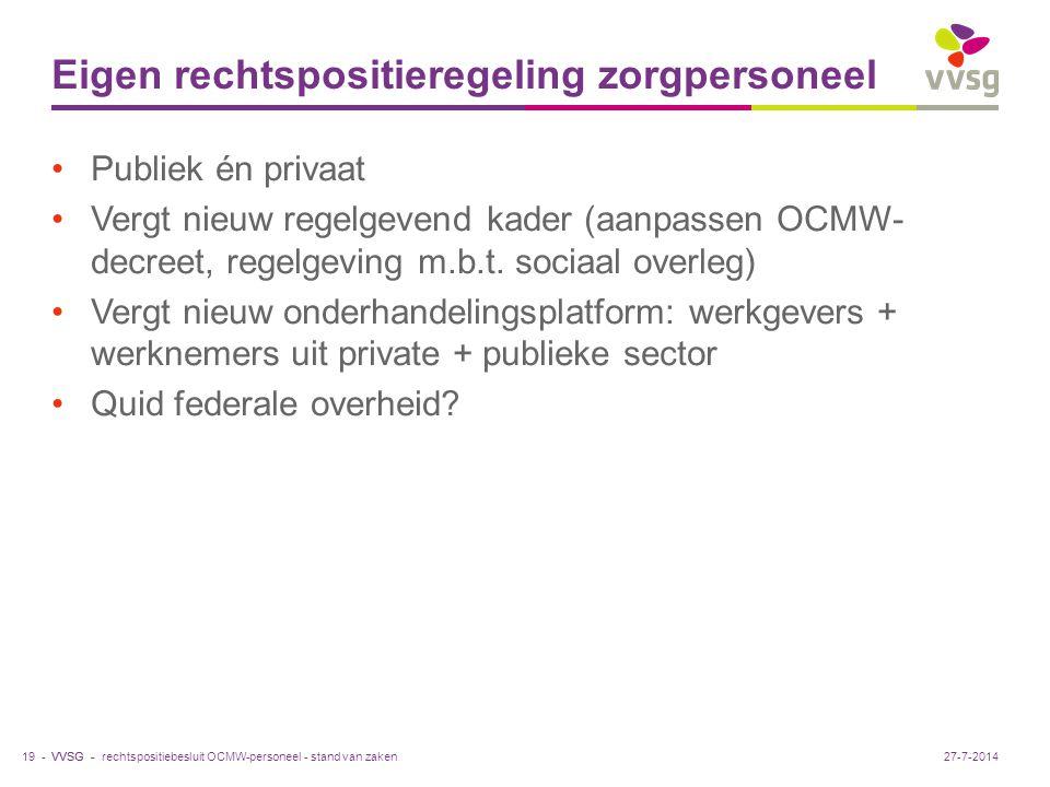 VVSG - Eigen rechtspositieregeling zorgpersoneel Publiek én privaat Vergt nieuw regelgevend kader (aanpassen OCMW- decreet, regelgeving m.b.t.