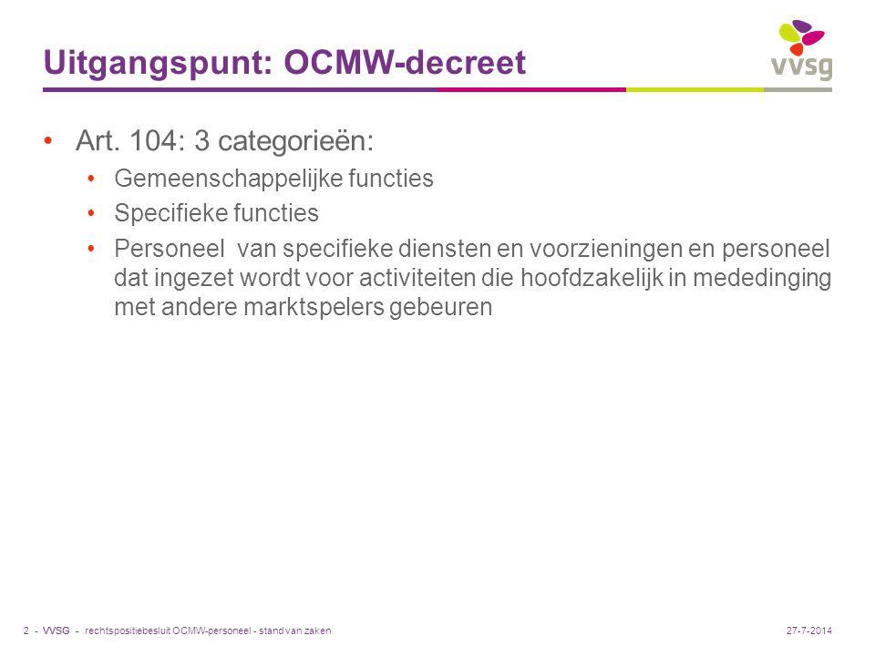 VVSG - Uitgangspunt: OCMW-decreet Art.