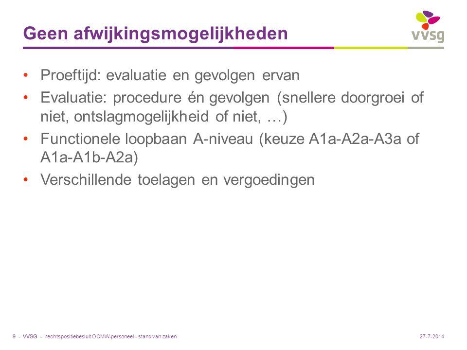 VVSG - Geen afwijkingsmogelijkheden Proeftijd: evaluatie en gevolgen ervan Evaluatie: procedure én gevolgen (snellere doorgroei of niet, ontslagmogelijkheid of niet, …) Functionele loopbaan A-niveau (keuze A1a-A2a-A3a of A1a-A1b-A2a) Verschillende toelagen en vergoedingen rechtspositiebesluit OCMW-personeel - stand van zaken9 -27-7-2014