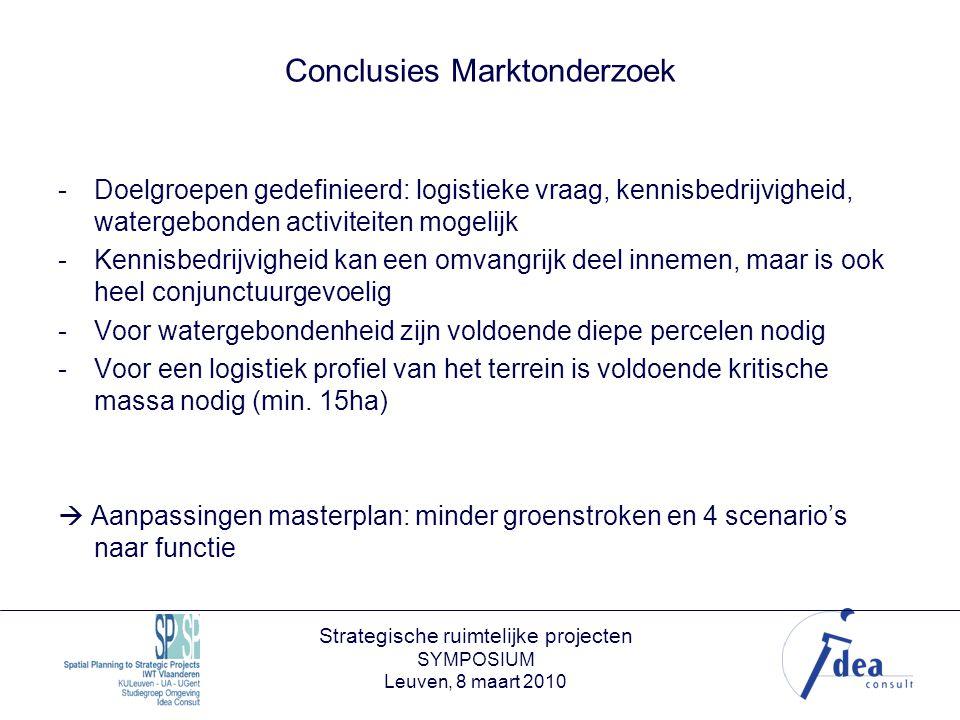 Strategische ruimtelijke projecten SYMPOSIUM Leuven, 8 maart 2010 Conclusies Marktonderzoek -Doelgroepen gedefinieerd: logistieke vraag, kennisbedrijvigheid, watergebonden activiteiten mogelijk -Kennisbedrijvigheid kan een omvangrijk deel innemen, maar is ook heel conjunctuurgevoelig -Voor watergebondenheid zijn voldoende diepe percelen nodig -Voor een logistiek profiel van het terrein is voldoende kritische massa nodig (min.