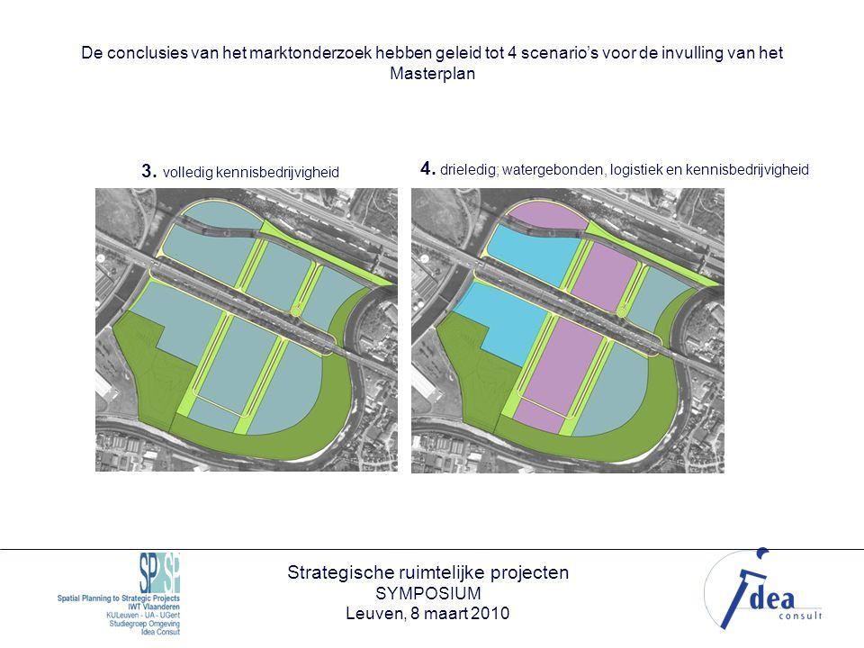Strategische ruimtelijke projecten SYMPOSIUM Leuven, 8 maart 2010 De conclusies van het marktonderzoek hebben geleid tot 4 scenario's voor de invulling van het Masterplan 3.