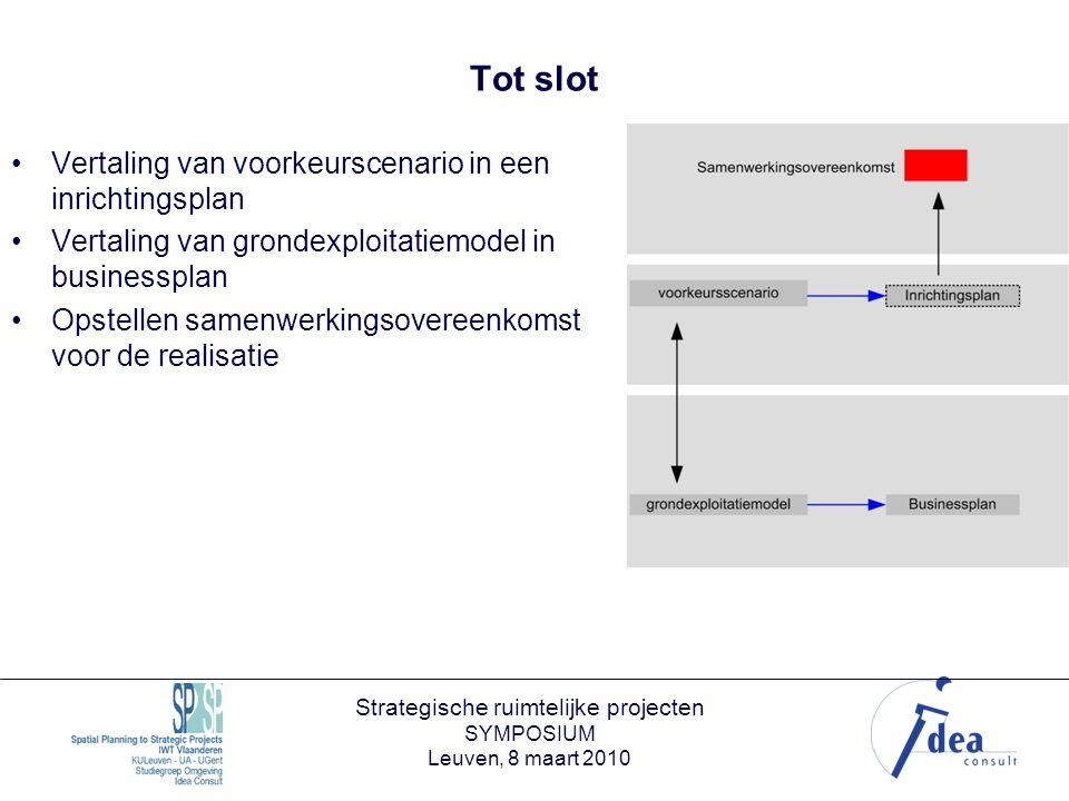 Strategische ruimtelijke projecten SYMPOSIUM Leuven, 8 maart 2010 Tot slot Vertaling van voorkeurscenario in een inrichtingsplan Vertaling van grondexploitatiemodel in businessplan Opstellen samenwerkingsovereenkomst voor de realisatie