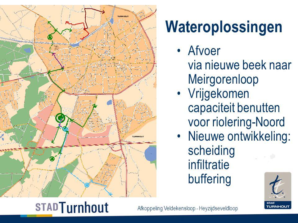 Afkoppeling Veldekensloop - Heyzijdseveldloop Wateroplossingen Afvoer via nieuwe beek naar Meirgorenloop Vrijgekomen capaciteit benutten voor riolering-Noord Nieuwe ontwikkeling: scheiding infiltratie buffering