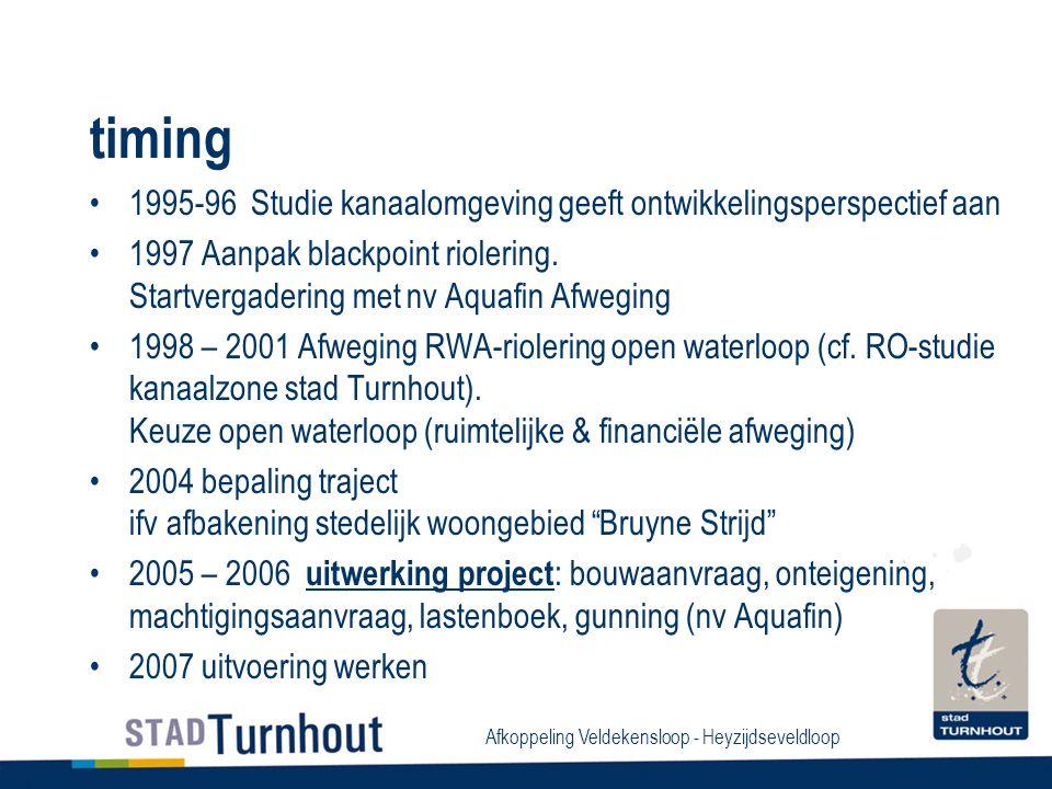 Afkoppeling Veldekensloop - Heyzijdseveldloop timing 1995-96 Studie kanaalomgeving geeft ontwikkelingsperspectief aan 1997 Aanpak blackpoint riolering.