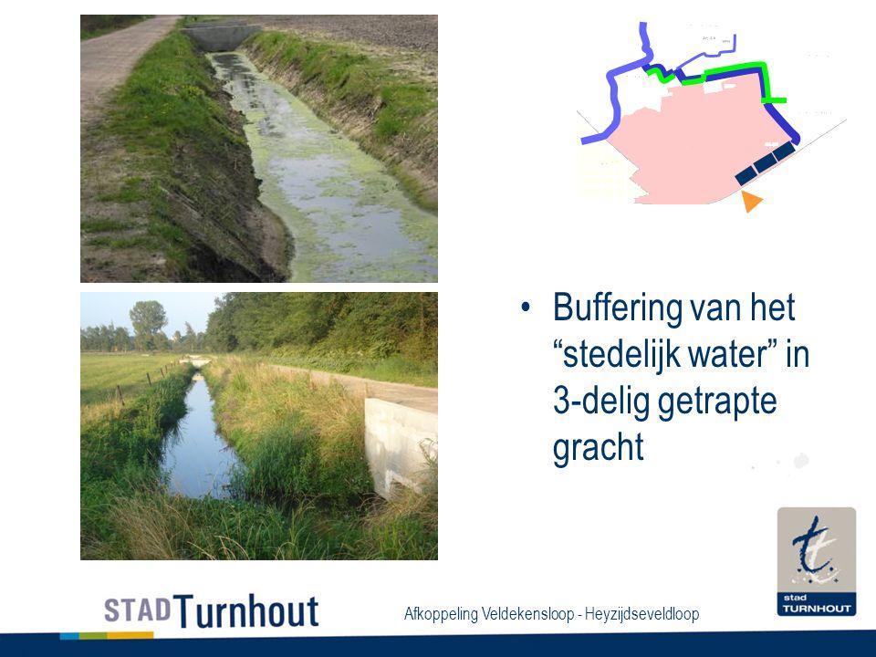Afkoppeling Veldekensloop - Heyzijdseveldloop Buffering van het stedelijk water in 3-delig getrapte gracht