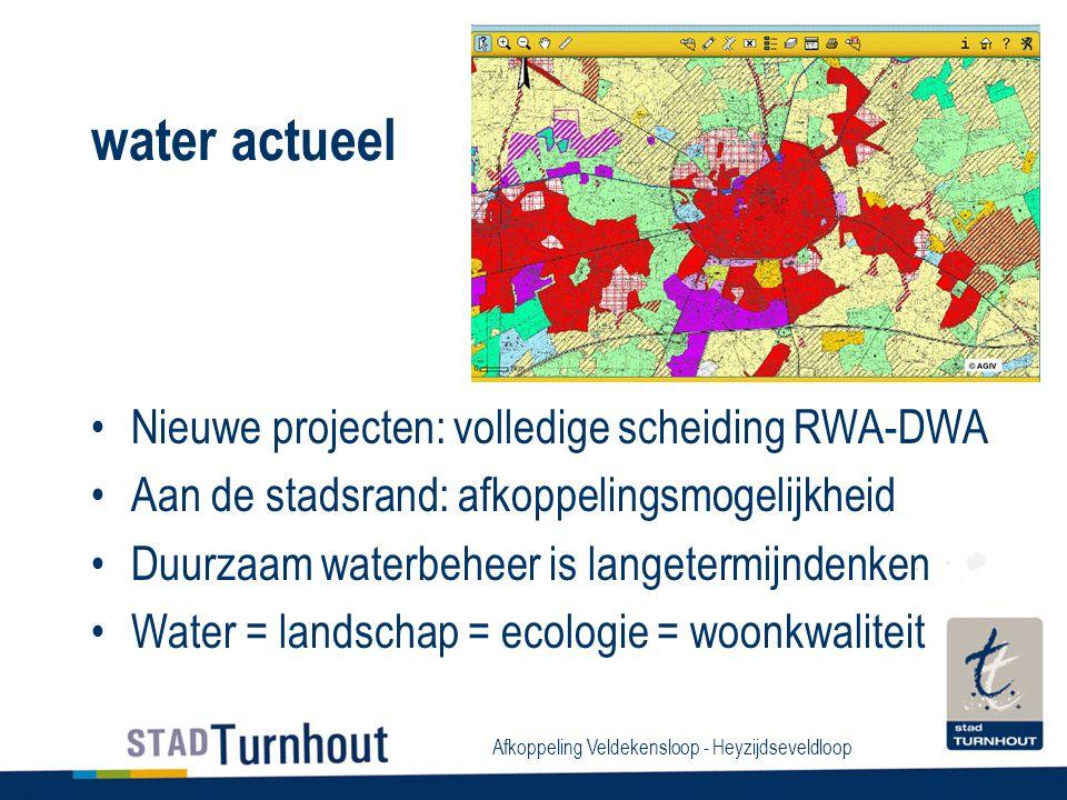 Afkoppeling Veldekensloop - Heyzijdseveldloop water actueel Nieuwe projecten: volledige scheiding RWA-DWA Aan de stadsrand: afkoppelingsmogelijkheid Duurzaam waterbeheer is langetermijndenken Water = landschap = ecologie = woonkwaliteit