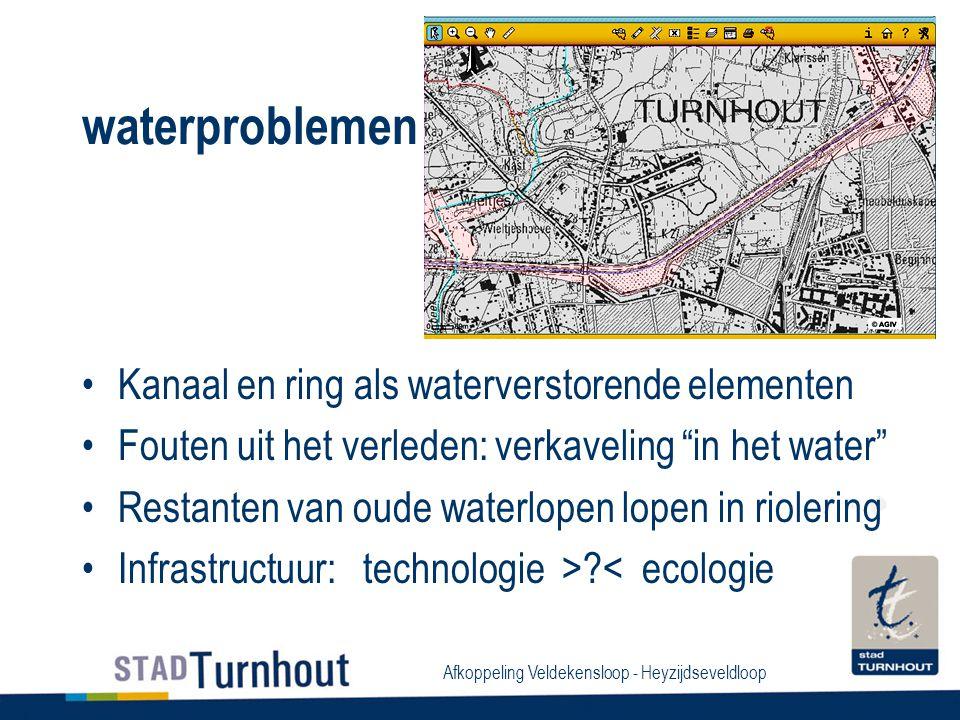 Afkoppeling Veldekensloop - Heyzijdseveldloop waterproblemen Kanaal en ring als waterverstorende elementen Fouten uit het verleden: verkaveling in het water Restanten van oude waterlopen lopen in riolering Infrastructuur: technologie >?< ecologie