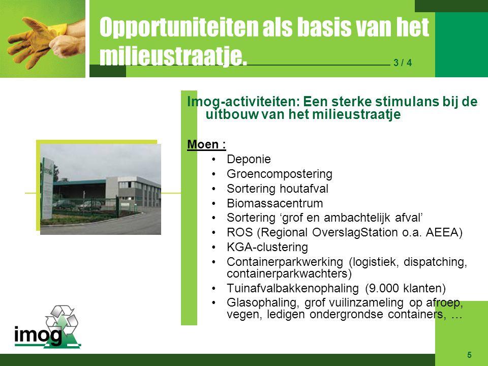 Opportuniteiten als basis van het milieustraatje. 3 / 4 Imog-activiteiten: Een sterke stimulans bij de uitbouw van het milieustraatje Moen : Deponie G