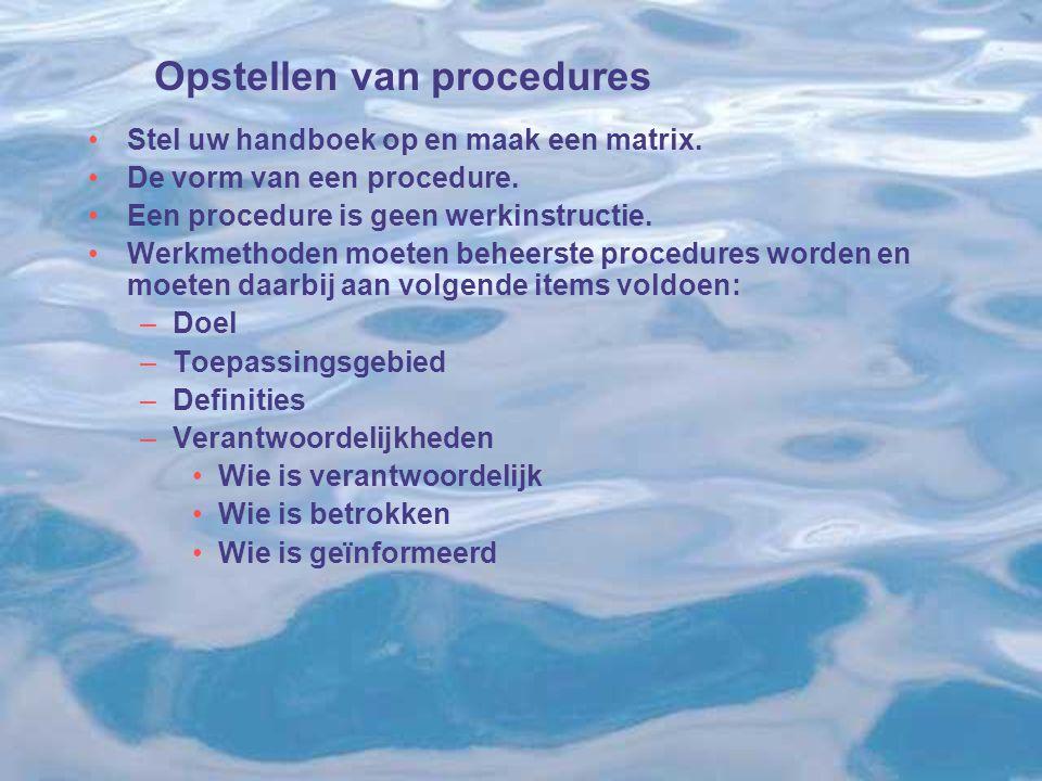 Opstellen van procedures Stel uw handboek op en maak een matrix. De vorm van een procedure. Een procedure is geen werkinstructie. Werkmethoden moeten