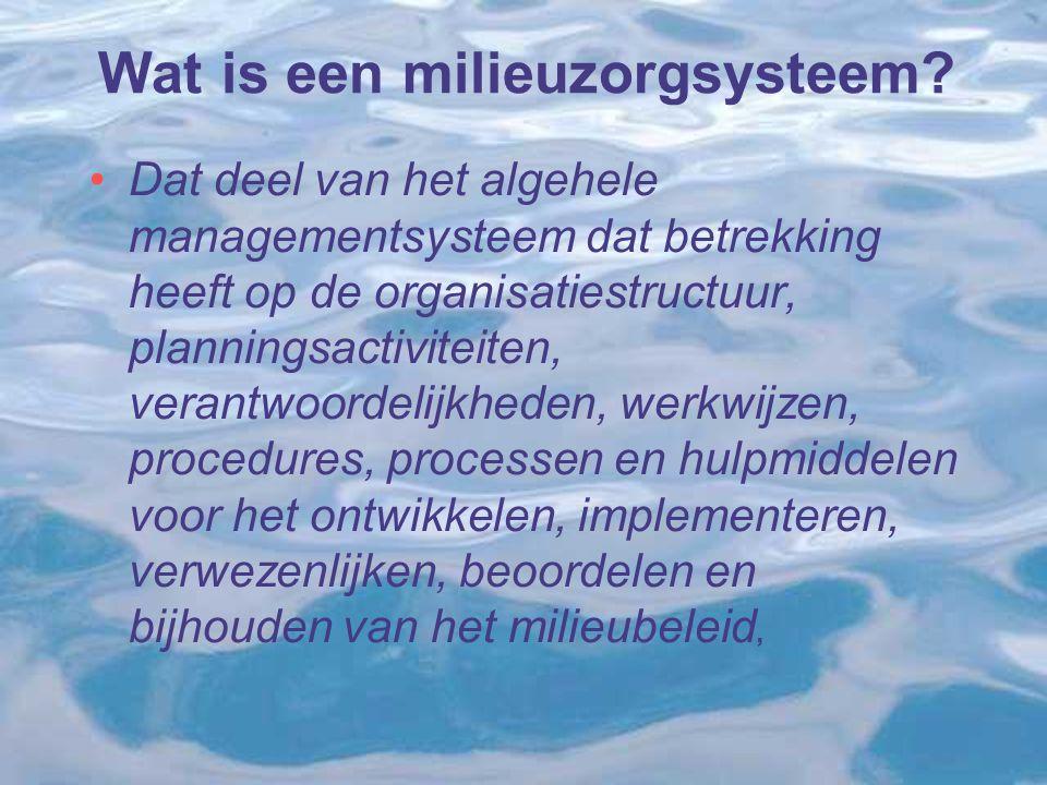 Wat is een milieuzorgsysteem? Dat deel van het algehele managementsysteem dat betrekking heeft op de organisatiestructuur, planningsactiviteiten, vera