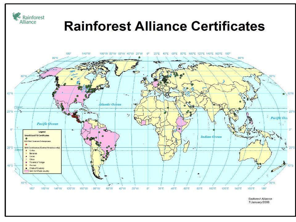 Umwandlung des globalen Marktes Forstwirtschaftliche Erzeugnisse: Wir haben 3 % der Forstbetriebe (100 million acres= XX ha) in über 50 Ländern zertifiziert.