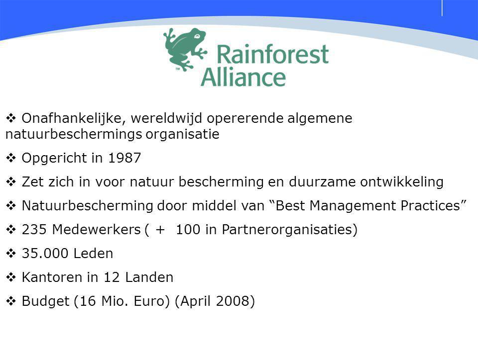 Onafhankelijke, wereldwijd opererende algemene natuurbeschermings organisatie  Opgericht in 1987  Zet zich in voor natuur bescherming en duurzame ontwikkeling  Natuurbescherming door middel van Best Management Practices  235 Medewerkers ( + 100 in Partnerorganisaties)  35.000 Leden  Kantoren in 12 Landen  Budget (16 Mio.