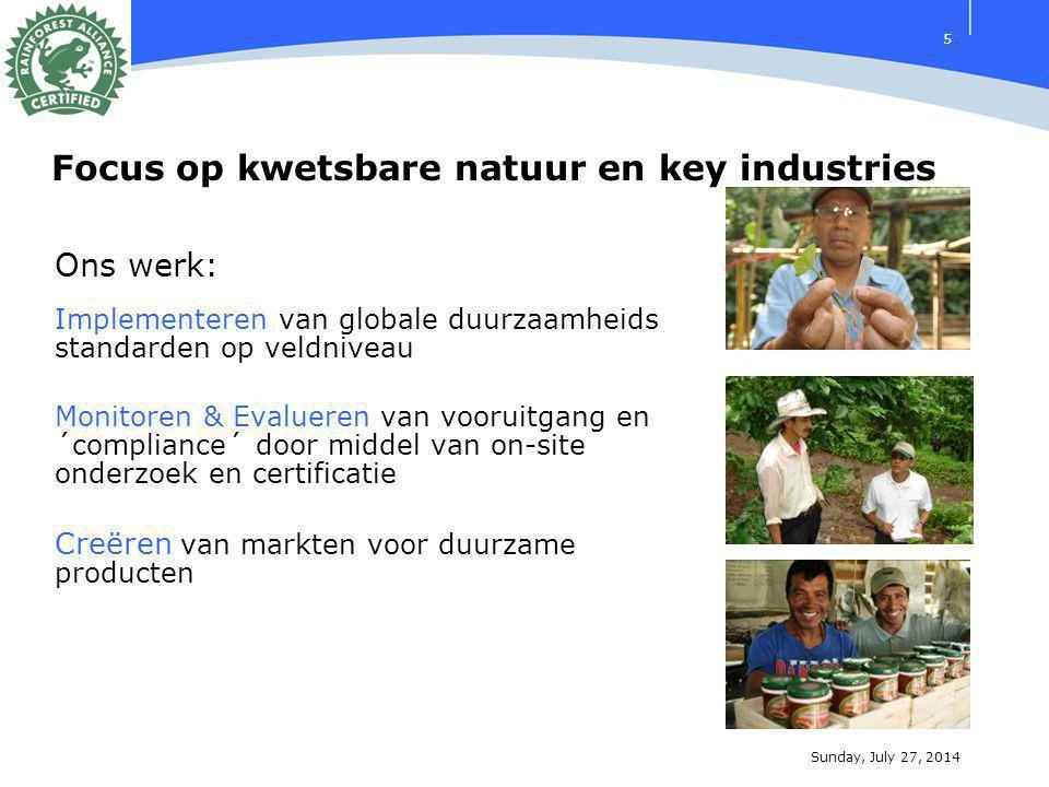 Sunday, July 27, 2014 5 Ons werk: Implementeren van globale duurzaamheids standarden op veldniveau Monitoren & Evalueren van vooruitgang en ´compliance´ door middel van on-site onderzoek en certificatie Creëren van markten voor duurzame producten Focus op kwetsbare natuur en key industries