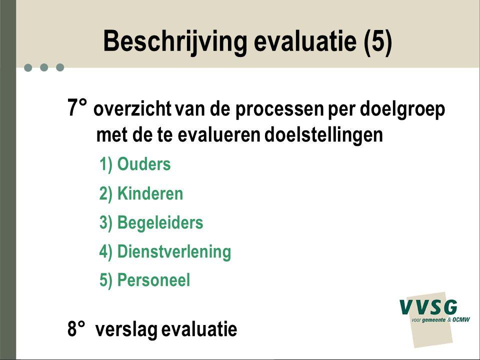 Beschrijving evaluatie (5) 7° overzicht van de processen per doelgroep met de te evalueren doelstellingen 1) Ouders 2) Kinderen 3) Begeleiders 4) Dien