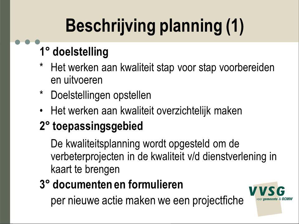 Beschrijving planning (1) 1° doelstelling *Het werken aan kwaliteit stap voor stap voorbereiden en uitvoeren *Doelstellingen opstellen Het werken aan
