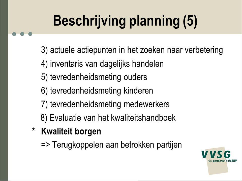 Beschrijving planning (5) 3) actuele actiepunten in het zoeken naar verbetering 4) inventaris van dagelijks handelen 5) tevredenheidsmeting ouders 6)