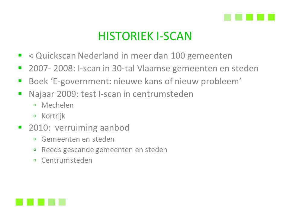HISTORIEK I-SCAN  < Quickscan Nederland in meer dan 100 gemeenten  2007- 2008: I-scan in 30-tal Vlaamse gemeenten en steden  Boek 'E-government: ni
