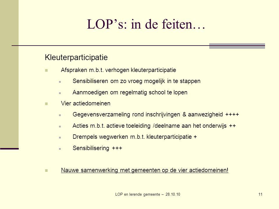 LOP en lerende gemeente – 28.10.1011 LOP's: in de feiten… Kleuterparticipatie Afspraken m.b.t.