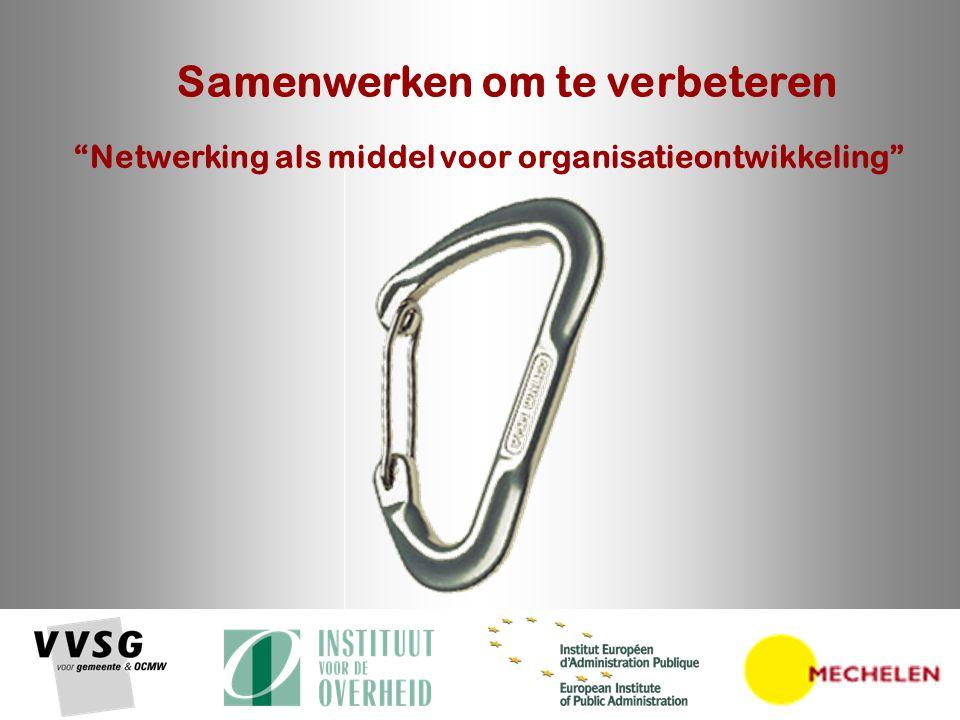 Samenwerken om te verbeteren – 19 oktober 2007 2 Netwerking & Organisatieontwikkeling Benchmarking rond fixatie van de bewoner in 21 woon- en zorgcentra in West-Vlaanderen Loos Erwin OCMW Wevelgem