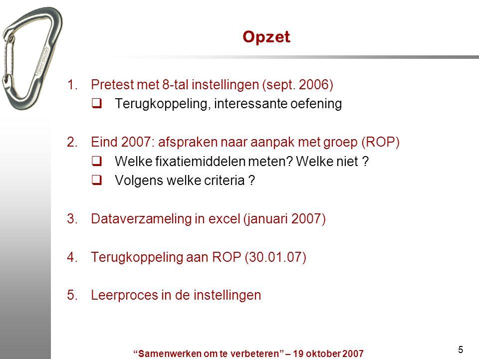 """Samenwerken om te verbeteren"" – 19 oktober 2007 5 Opzet 1.Pretest met 8-tal instellingen (sept. 2006)  Terugkoppeling, interessante oefening 2.Eind"