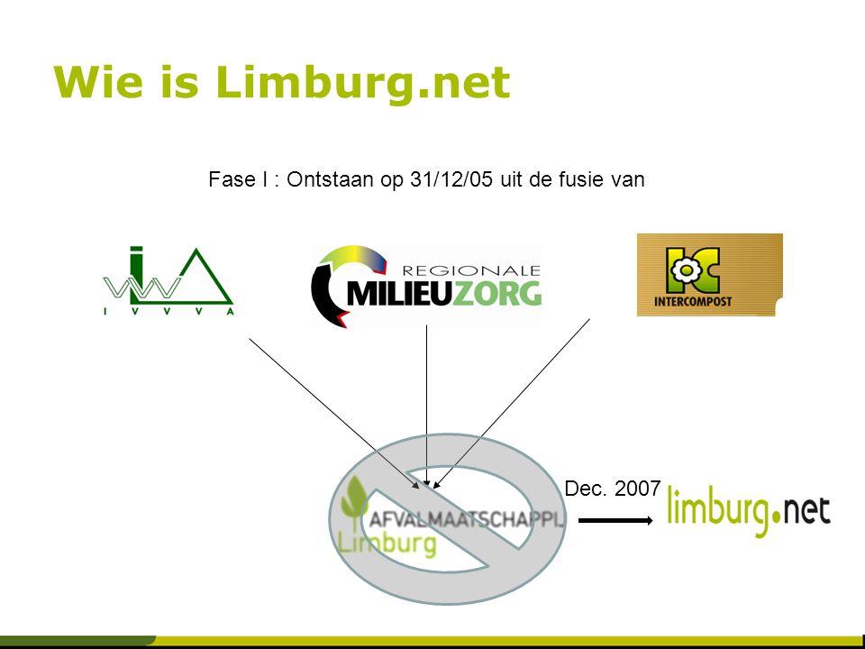 Wie is Limburg.net Fase I : Ontstaan op 31/12/05 uit de fusie van Dec. 2007