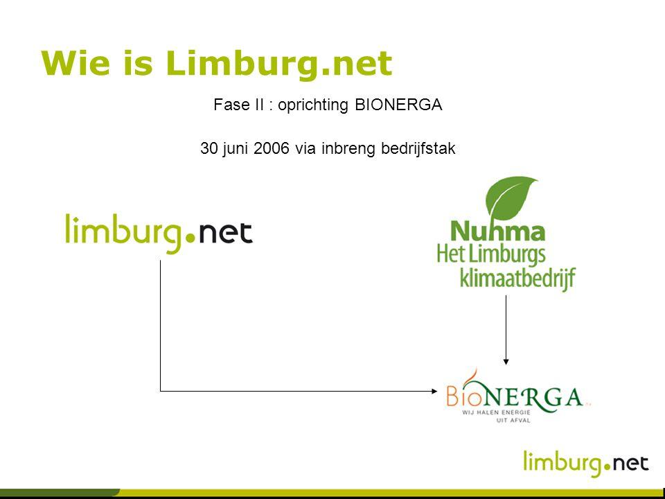 Wie is Limburg.net Fase II : oprichting BIONERGA 30 juni 2006 via inbreng bedrijfstak