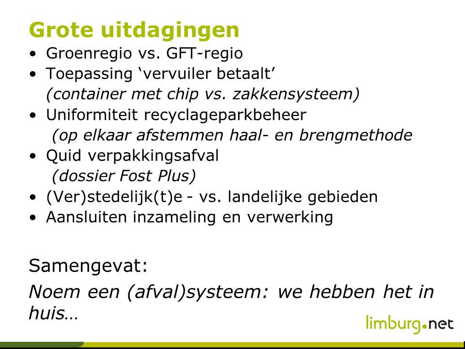 Grote uitdagingen Groenregio vs. GFT-regio Toepassing 'vervuiler betaalt' (container met chip vs.