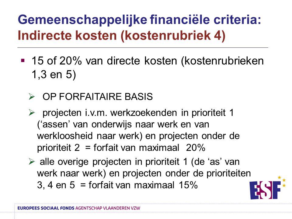 Gemeenschappelijke financiële criteria: Indirecte kosten (kostenrubriek 4)  15 of 20% van directe kosten (kostenrubrieken 1,3 en 5)  OP FORFAITAIRE
