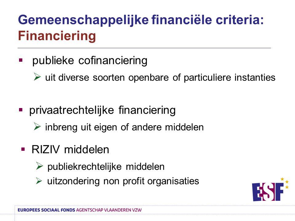  publieke cofinanciering  uit diverse soorten openbare of particuliere instanties  privaatrechtelijke financiering  inbreng uit eigen of andere mi