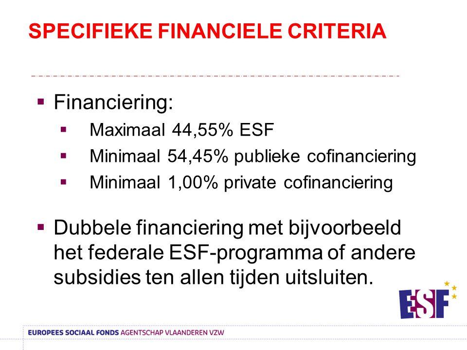 SPECIFIEKE FINANCIELE CRITERIA  Financiering:  Maximaal 44,55% ESF  Minimaal 54,45% publieke cofinanciering  Minimaal 1,00% private cofinanciering