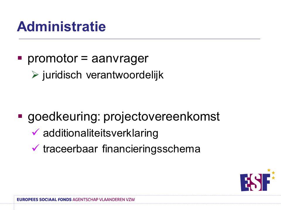 Administratie  promotor = aanvrager  juridisch verantwoordelijk  goedkeuring: projectovereenkomst additionaliteitsverklaring traceerbaar financieri