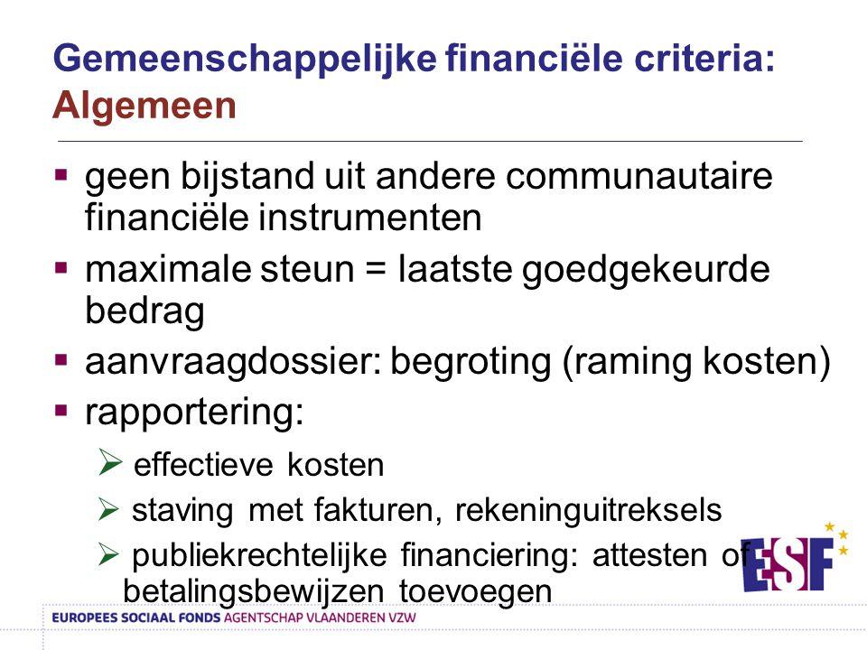  geen bijstand uit andere communautaire financiële instrumenten  maximale steun = laatste goedgekeurde bedrag  aanvraagdossier: begroting (raming k